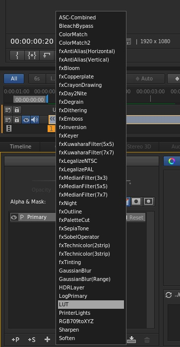 In SpeedGrade CC, add a LUT from the Look Layer menu