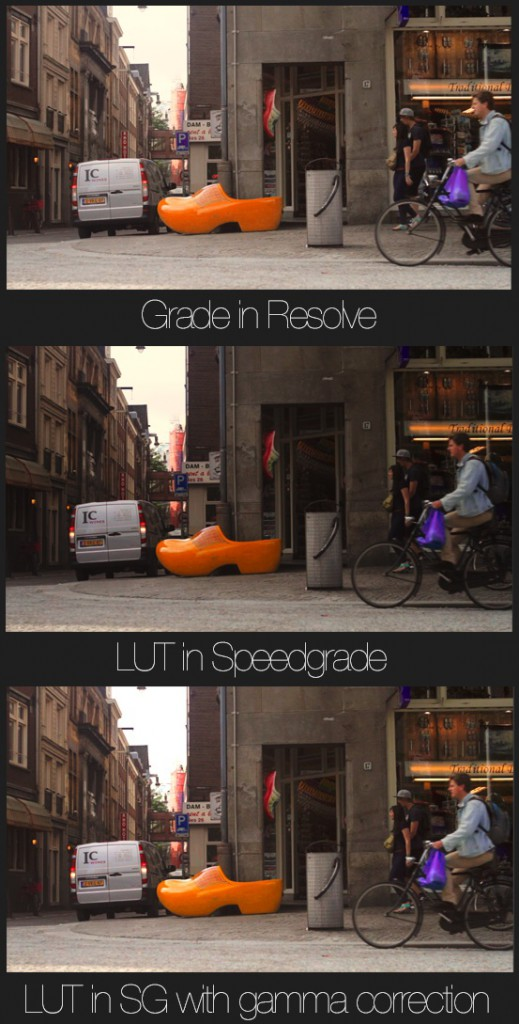 You can see the differences between the Resolve Look and the SpeedGrade Look.