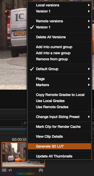 Using the 'Generate 3D LUT' command in DaVinci Resolve