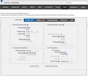 Screenshot of the ARRI LUT Generator