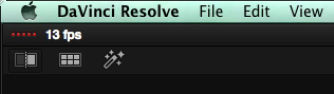 The frame rate indicator in DaVinci Resolve