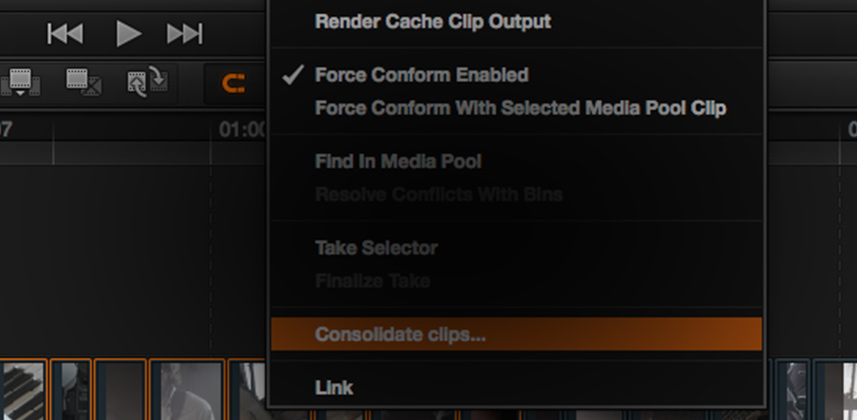 DaVinci Resolve: Consolidate Clips Function