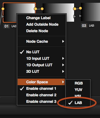 Putting a node into LAB colorspace in DaVinci Resolve 11