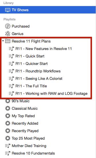 Flight Paths organized in a folder