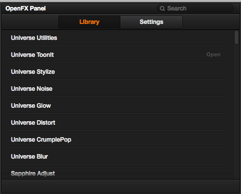The 'Classes' of plug-ins installed with Red Giant Universe (in DaVinci Resolve 11.1)