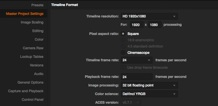 How to Use Project Presets In DaVinci Resolve