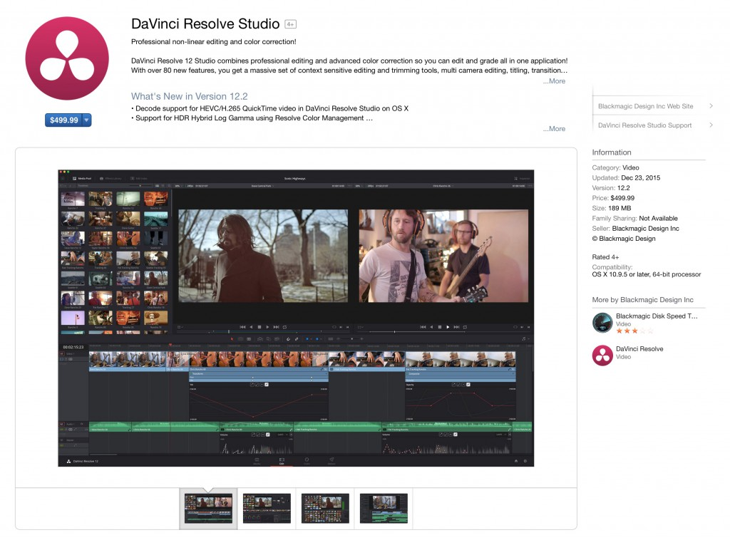 DaVinci Resolve Studio on the Mac App Store
