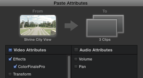 All clips will receive Color Finale Pro at a default state, ready to operate with the Ripple