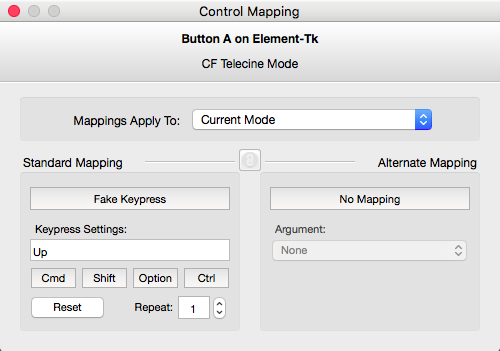 Mapping the A button to the UP arrow key