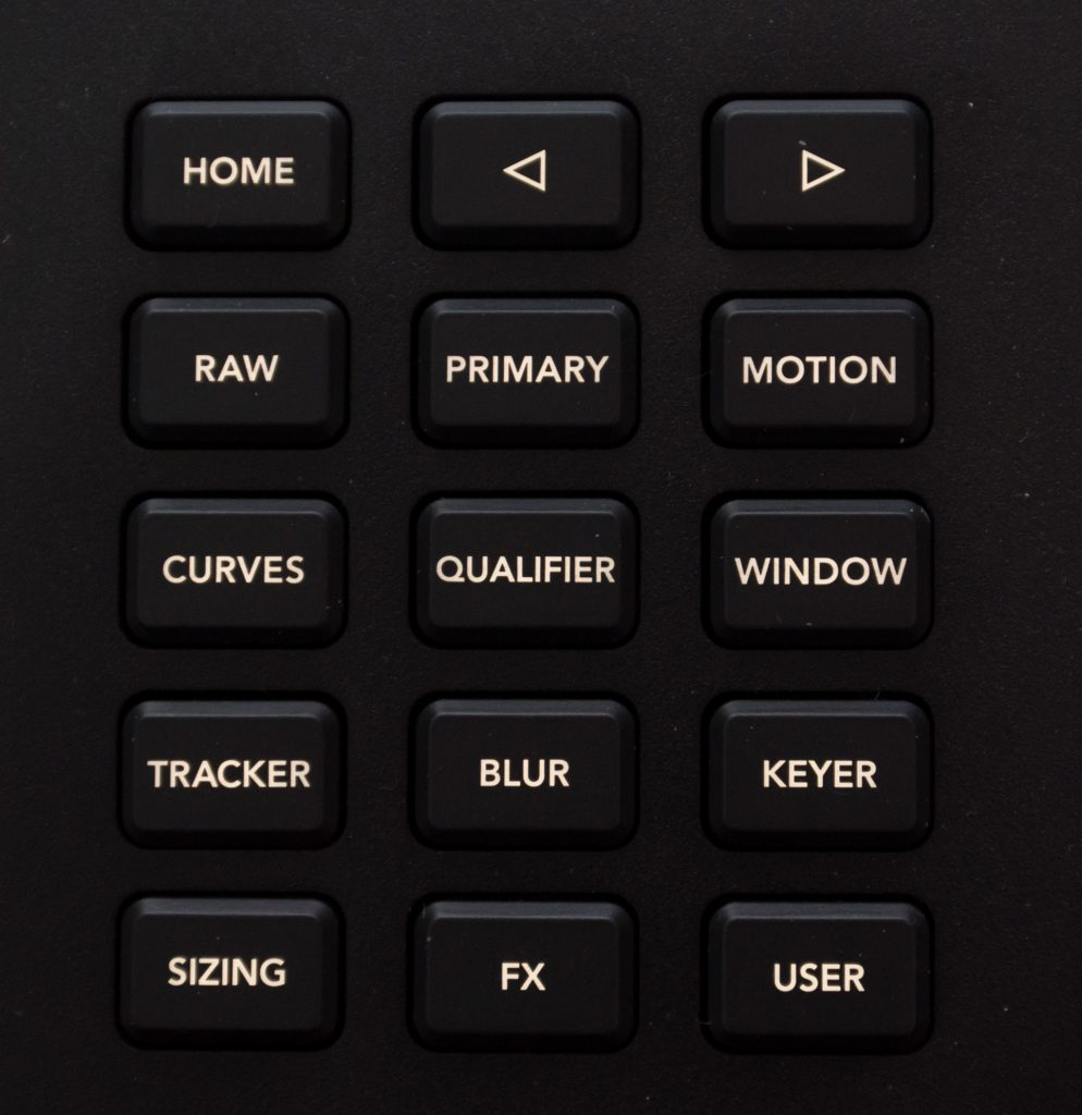 Close up of the button group that controls the on-screen displays