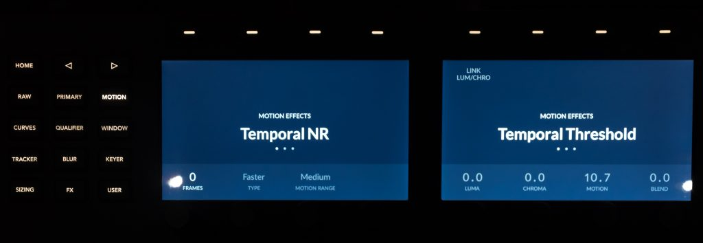 LCD screens showing the Temporal Noise Reduction controls