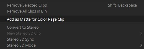 """Convert to Matte Clip"" Command in DaVinci Resolve 14's Media Page"