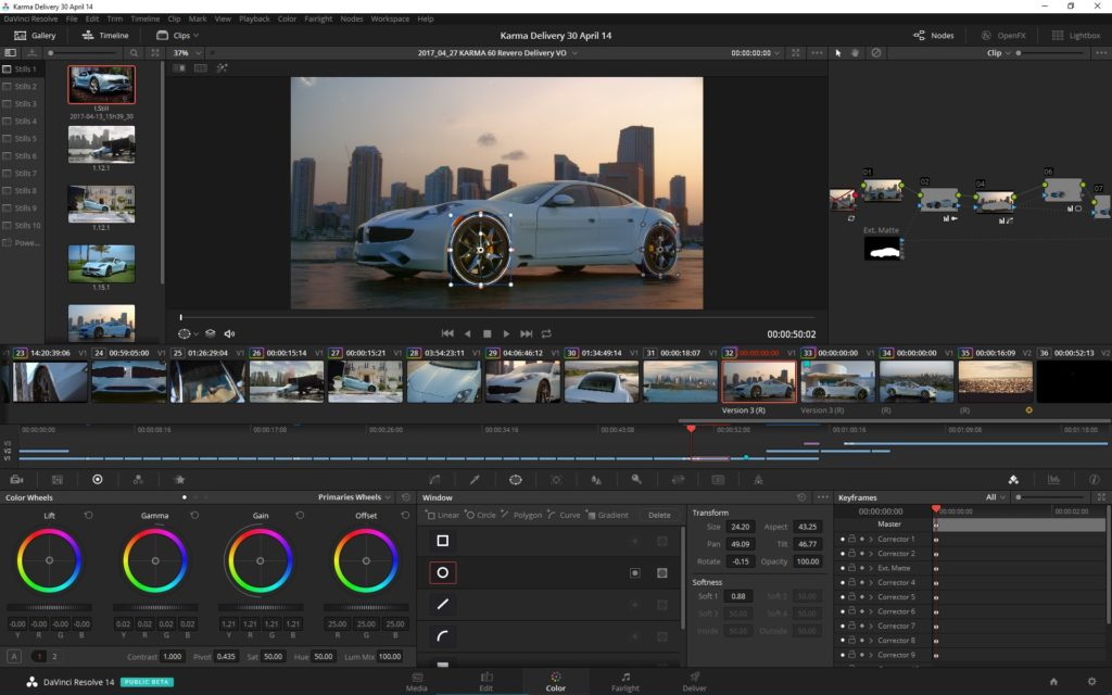 The Color Page timeline in DaVinci Resolve 14