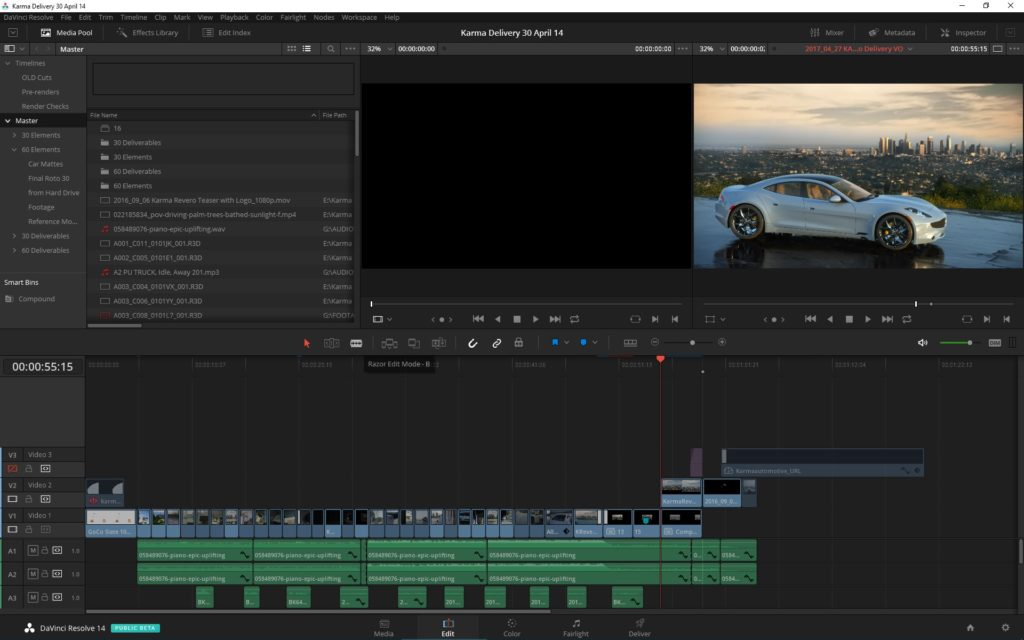 The DaVinci Resolve 14 Edit Page Timeline