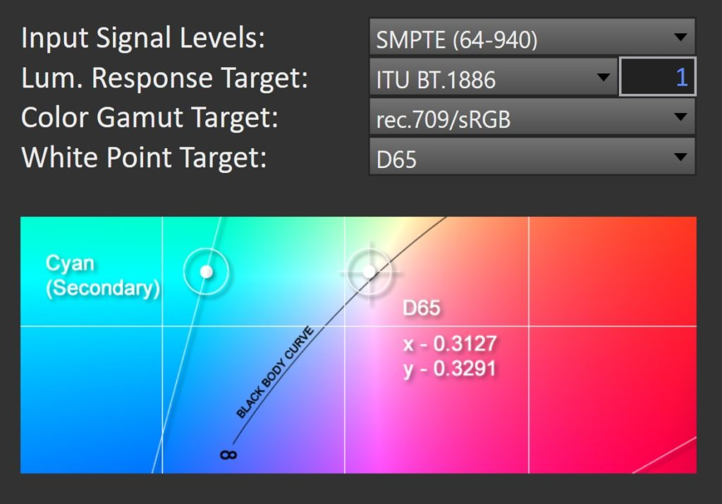 CalMAN Studio Calibration Standard for LCDs in Rec 709