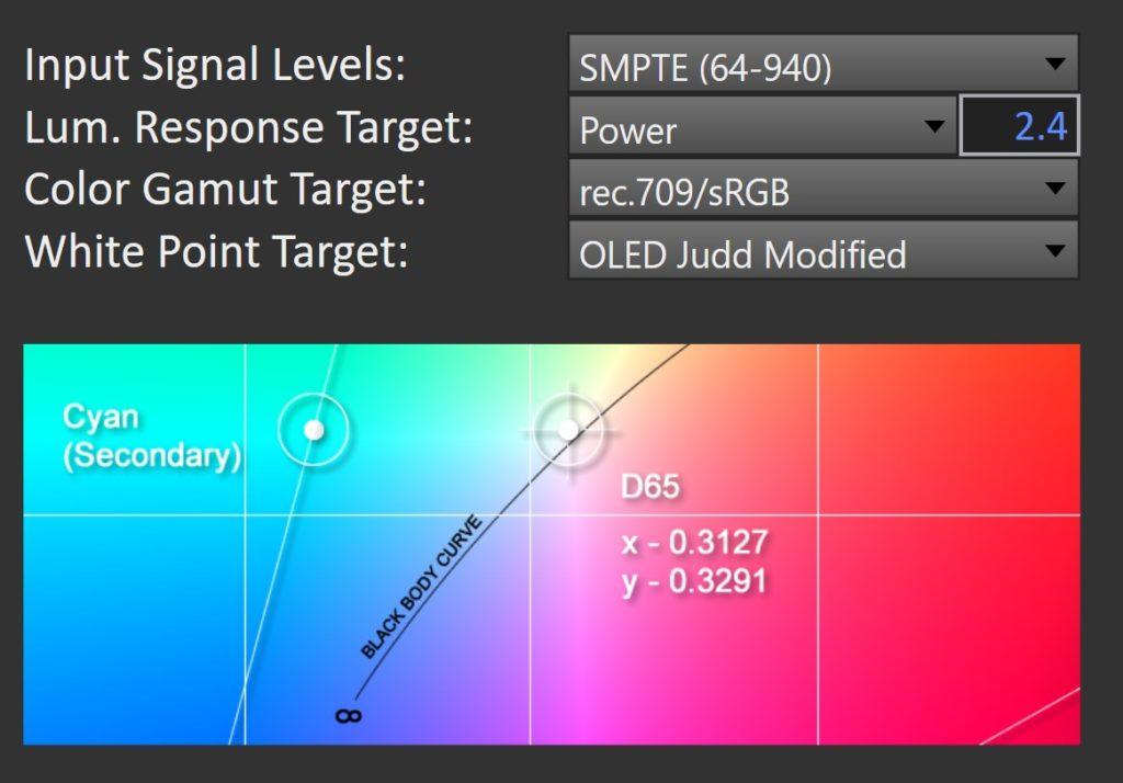 CalMAN Studio Calibration Standard for RGB OLED in Rec 709