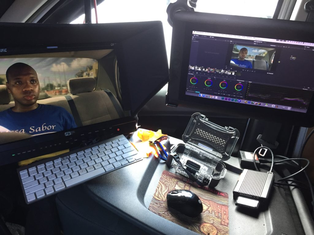 DIT Kit Van Setup Monitors and Keyboard on seatback