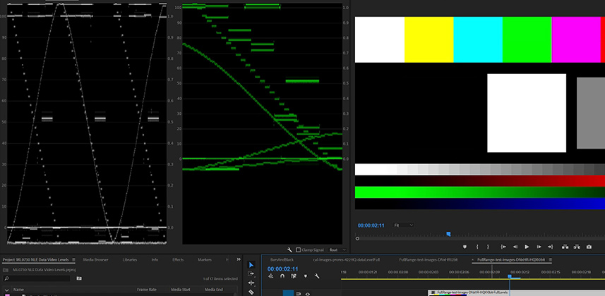 Using Calibration Test Patterns in Premiere Pro
