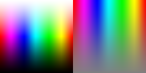 A high bit-depth gradient with hue represented on the horizontal axis. On the left (L) side, saturation is represented on the vertical axis. On the right (R) side, lightness is represented on the vertical axis.