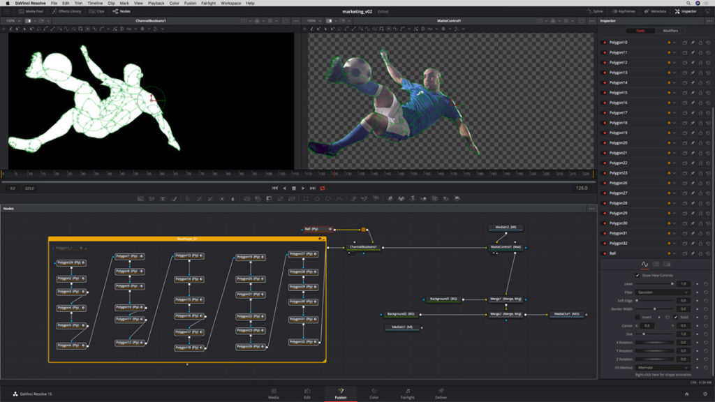 Fusion Page from DaVinci Resolve 15 Public Beta