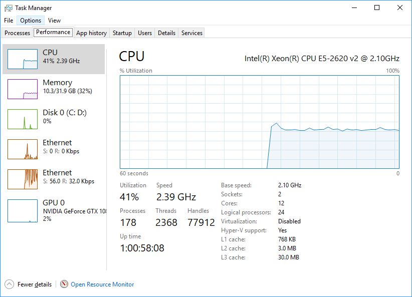 Peeking at Window's task manager, we can see the resources used during a UHD H.264 QC test. Notice how GPU usage is at 0%.