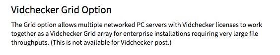 Details of Vidchecker Grid, from Telestream's website.