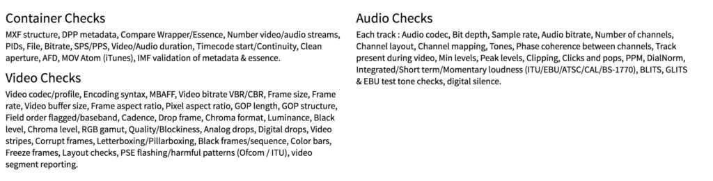 A summary of defects that Vidchecker auto-detects.