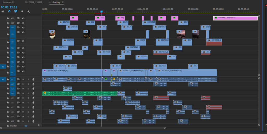 Many tracks of media and titles on a sequence in Adobe Premiere Pro