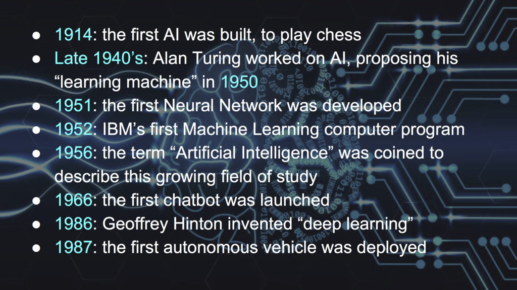 """1914: the first AI was built, to play chess Late 1940's: Alan Turing worked on AI, proposing his """"learning machine"""" in 1950 1951: the first Neural Network was developed 1952: IBM's first Machine Learning computer program 1956: the term """"Artificial Intelligence"""" was coined to describe this growing field of study 1966: the first chatbot was launched 1986: Geoffrey Hinton invented """"deep learning"""" 1987: the first autonomous vehicle was deployed"""