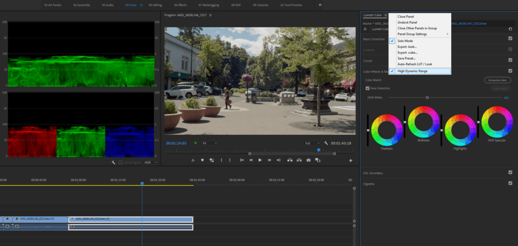 Setting Premiere to HDR