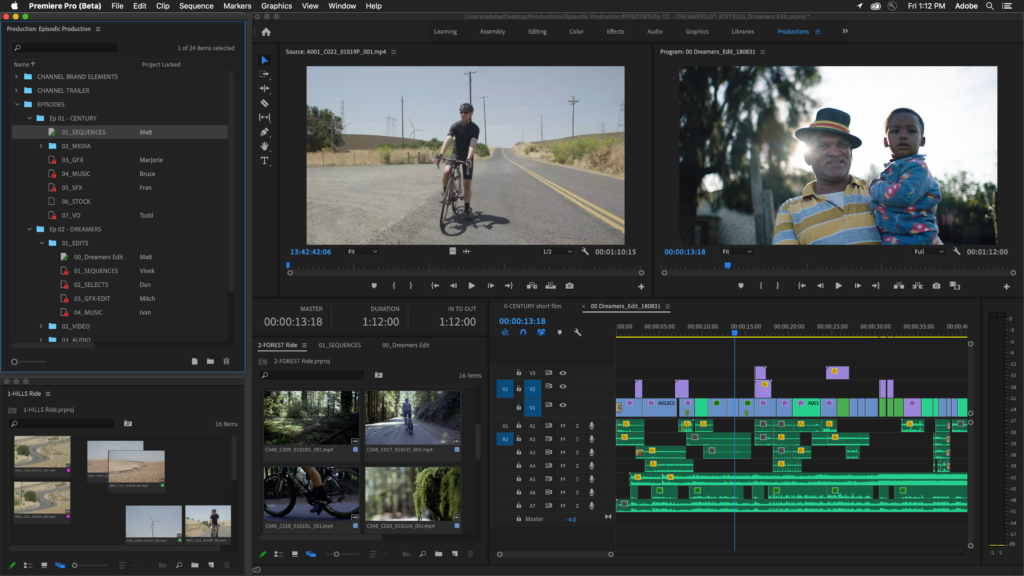Adobe Premiere Pro Productions sample project being edited