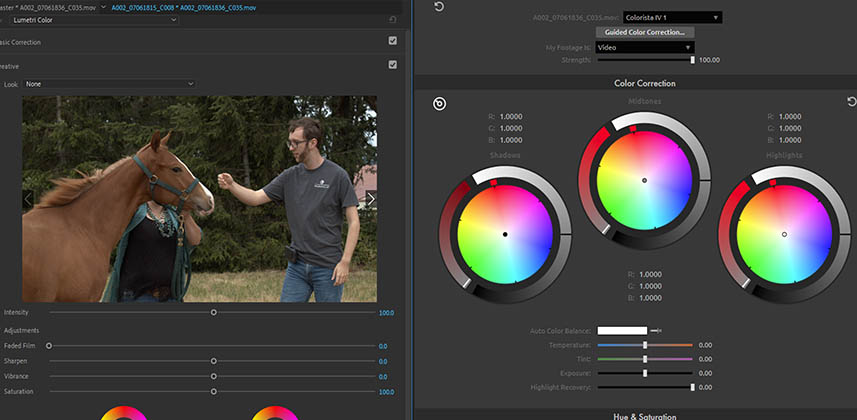 Adobe Premiere with Lumetri and Red Giant Colorista Panels