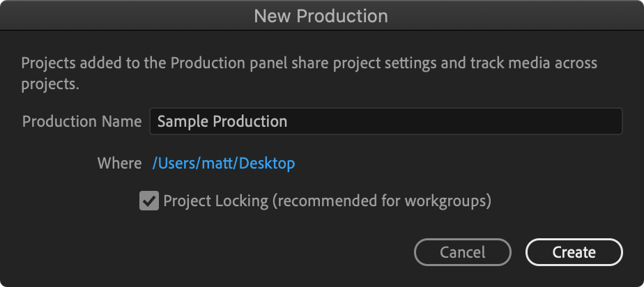 Add Project menu for Premiere Pro Productions