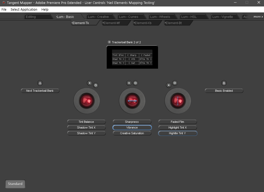 Showing the mapping for the alternate bank for the Tangent Elements panel Trackballs in Premiere Lumetri Basic Tab