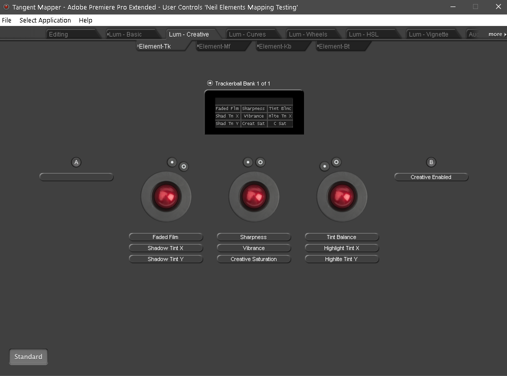 Showing the mapping for the Tangent Elements panel Trackballs in the Premiere Pro Lumetri Creative tab