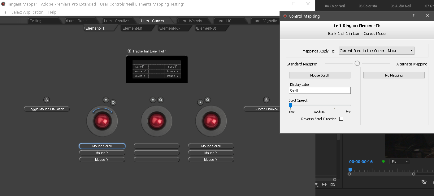 Showing the mapping for the Tangent Elements panel Trackballs in Premiere Pro Lumetri Curves tab